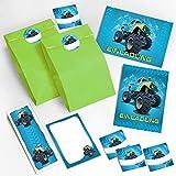 12 Einladungskarten zum Kindergeburtstag Monstertruck blau / Monster-Truck / Auto / Einladungen zum Geburtstag für Jungen incl. 12 Umschläge, 12 Party-Tüten / grün, 12 Aufkleber, 12 Lesezeichen, 12 Mini-Notizblöcke