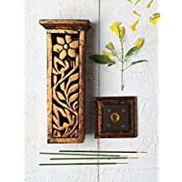 storeindya Handmade Wooden Incense Stick Holder Tower with Free Incense Stick for Him and Her Christmas Thanksgiving Gift (Floral Design)