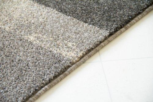 Modern Rug Beach Squares Silver Grey Retro Designer Carpet GUT Certified, Size 200x290 cm (6'6