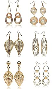 Youbella Jewellery Combo Of 6 Gold Plated Earrings For Women