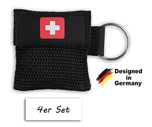 4x Erste Hilfe Beatmungsmaske als Schlüsselanhänger - Beatmungshilfe mit Einwegeventil - hygienische Mund zu Mund Beatmung für Ersthelfer - SOS Beatmungsbeutel - CPR Maske von be fancy! (4, Schwarz)