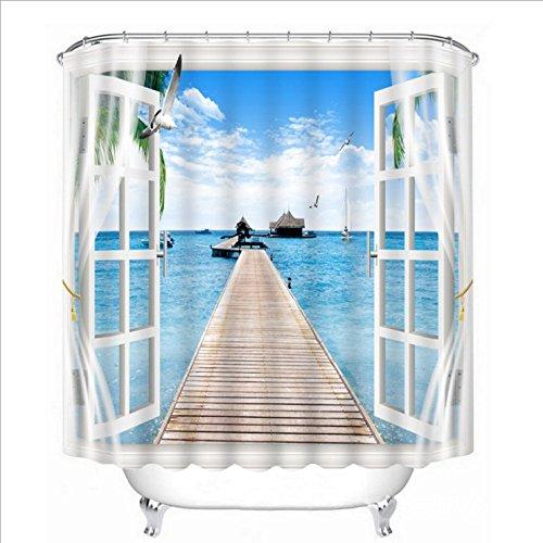 LB Tropischer Strand Ozean Landschaft Dekor Duschvorhang Möwe, Galerie, Hütte im Wasser 71