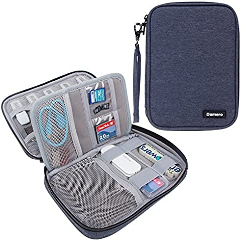 Damero USB Flash Drive Bolsa para tarjetas SD, la energía Banks, tarjetas de memoria / unidad Caso impermeable duro externo, azul