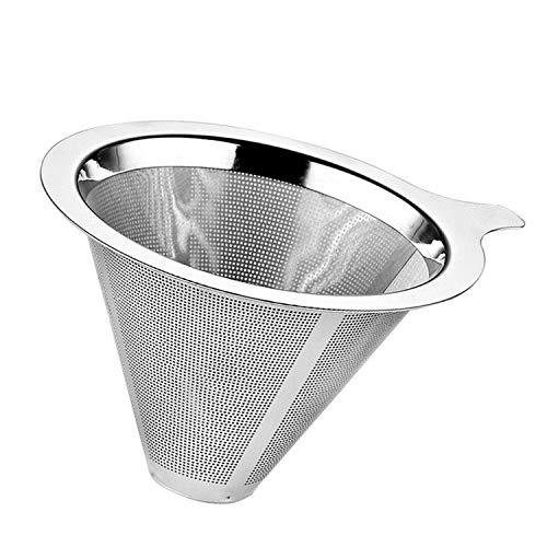 anne Filter,10,2x6,2 cm Wiederverwendbare Doppelschicht Edelstahl Gießen Kaffee Filter Trichter für Home Office Apartment ()