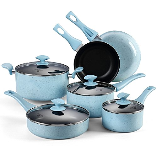 10-Piece Nonstick Pots and Pans Set, Cooksmark Pearl Porcelain Enamel Nonstick Blue Speckle Cookware Set