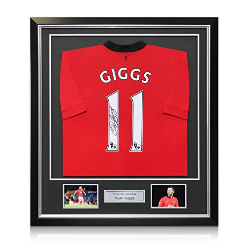 Ryan Giggs Signed 2013/14 Manchester United Shirt: The Final Season. In Deluxe Black Frame With Silver Inlay