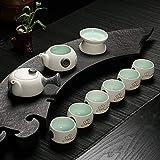 xiduobao Porcelana RU Kiln Kungfu Juego de té chino Celadon Juego de té gongfu Verde–Tetera de porcelana cerámica té gongfu Home/Office/Teaset de viaje.–Juego de 10pcs.