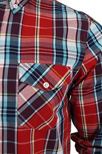 Chemise à carreaux à manches longues par Brave Soul pour homme Rouge