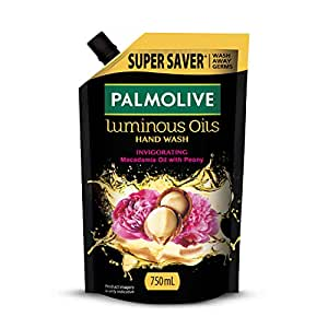 Palmolive Luminous Oils Invigorating Liquid Hand Wash, 750ml Refill Pack, With Macadamia Oil and Peony Extracts