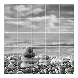 FoLIESEN Fliesenaufkleber für Bad und Küche - Fliesenposter - Motiv- Zen Stones SW - Fliesengröße 15x20 cm (LxH) - Fliesenbild 105x100 cm (LxH)