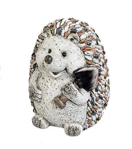 Formano Gartenfigur Igel mit Spaten Dekofigur Tierfigur in Kieselstein-Optik aus wetterfestem Magnesia (bunt - Igel sitzend)