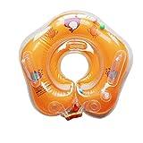 E-db Salvagente Collo Neonato - Gonfiabile Regolabile Doppio Airbag Salvagente Neonate per 1-18 Mesi Baby (Arancione)