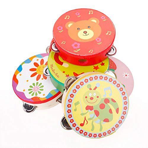 Vektenxi Bunte Tamburin-Karikatur-Handtrommel-Schlaginstrument-Schlagzeug-Früherziehung-Spielzeug für Kinder