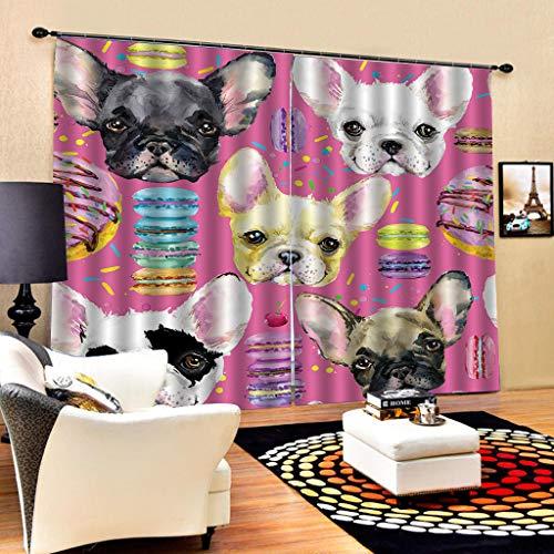 HomeAZWQ Thermal Blackout Paar Vorhänge 3D-Druckeffekt Cartoon Hund Weiß Schwarz Für Kinder & Kinderzimmer H245 X W280cm (Blackout Vorhänge Weißes Paar)