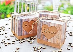 Lot de 25Love Hearts Vintage Shabby Chic Rustique De Mariage Dragées