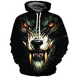 DRESS_start 3D Jacke Herren, Unisex 3D Winterjacken Herren Printed Wolf Pullover Langarm Mit Kapuze Sweatshirt Tops Bluse T Shirt Longshirt Tank Top Schwarz (L)