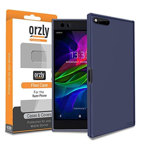 Razer Phone Handy Hülle, Orzly FlexiCase für das Razer SmartPhone (2017 Android Modell) - Flexible Silikon-Gel-Telefon-Kasten Schutz in BLAU