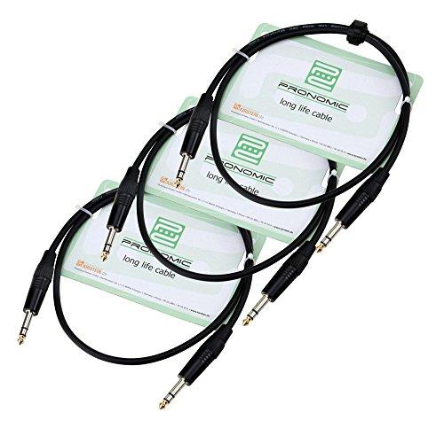 Pronomic Stage INSTS-1 Stereo-Klinkenkabel 1m 3x SET (symmetrisch abgeschirmt, zweiadrig, 6,3 mm Klinkenstecker) schwarz