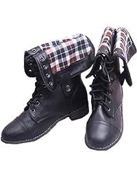 Minetom Donna Inverno Stivali Martin Moda Casual Elegante Plaid Fodera Scarpe  Stringate Vintage Piatto Boots Stivaletti adeb3580992