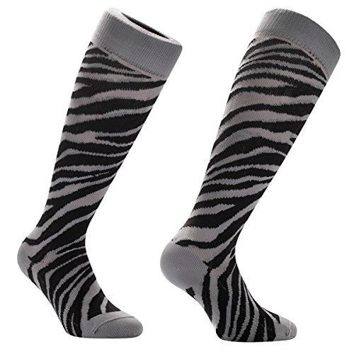 Samson® Safari Zebra Print Funky Funny Geschenk Neuheit Fashion Sports und Casual Knie Hohe Socken für Männer Frauen Kinder unisex Gr. S, Safari Zebra