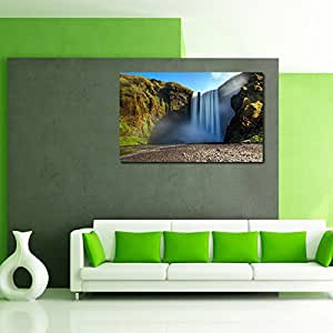 999Store canvas framed Mountain Waterfall Printed Home Decor like Modern Wall Art Painting - Large Size (91 Cms x 61 Cms)