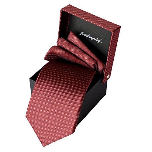 Elegante Premium Krawatte aus 100% Seide in bordeaux mit weißen Punkten hergestellt in Handarbeit als Seven-Fold Krawatte mit Einstecktuch und Krawattenbox von LANGSDORF (Krawatte Falten 7 Seide)
