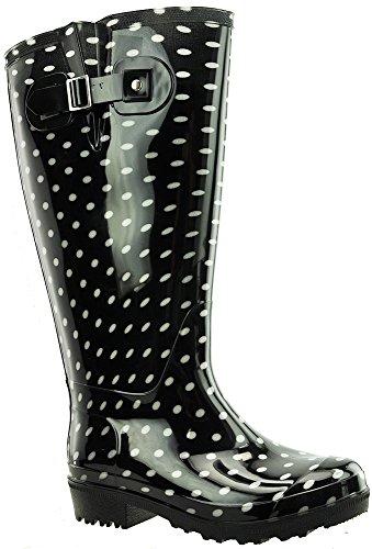 JJ Footwear, Stivali donna (Schwarz/White polka PVC)