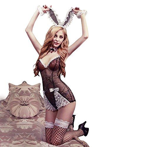 Damen 5 Teilig Spitzen Dessous Set Corsage Bodysuit Catsuit Baby Dolls Playboy Bunny Girl Kostüm Reizwäsche Lingerie Nachtwäsche Cosplay Club (Kostüm Bunny Playboy Halloween)