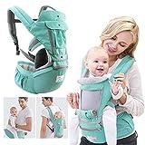 KOQIO Baby Wickel, Multifunktions Doppel Schulter Vorne Umarmung Babytrage, 3D Atmungsaktives Mesh Weiche Verstellbare Taille Hocker