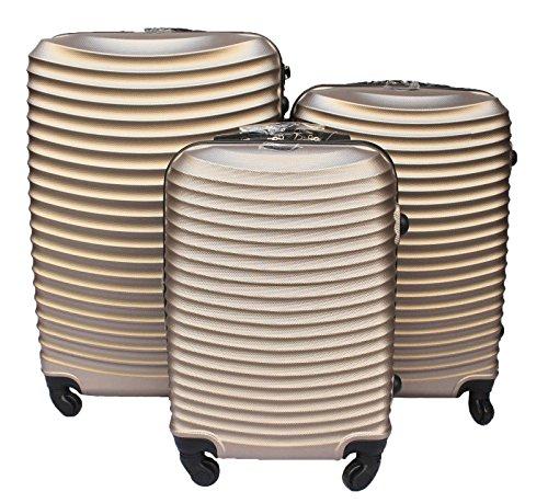 Set 3 valigie rigide abs + policarbonato con 4 ruote alka travel' (champagne)