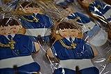 Lote de 10 Galletas de Primera Comunión decoradas con traje de Almirante
