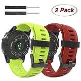 MoKo Correa para Garmin Fenix 3 / Fenix 5X Watch, 2 Piezas Pulsera de Respuesto de Suave Silicona, (2PCS) Banda Deportiva para Garmin Fenix 3 / Fenix 3 HR/Fenix 5X Smart Watch, Rojo Oscuro & Verde