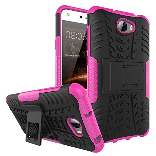 Preisvergleich Produktbild Huawei Y6 II Compact Handy Tasche, FoneExpert® Hülle Abdeckung Cover schutzhülle Tough Strong Rugged Shock Proof Heavy Duty Case für Huawei Y6 II Compact (Rosa)