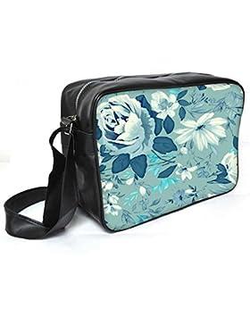 Snoogg blau floral Muster, 2481Leder Unisex Messenger Bag für College Schule täglichen Gebrauch Tasche Material PU