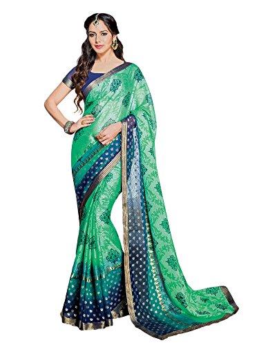 Green Chiffon Brasso Designer Embroidered Party wear Saree.