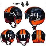 Ssmmxx Casque de Moto Harley Unisexe, Demi-Casque de Moto Jet Light, Certification Dot, Casque de Scooter Pilote, été Four Seasons Universal Gl Gants de Cadeau,XXL