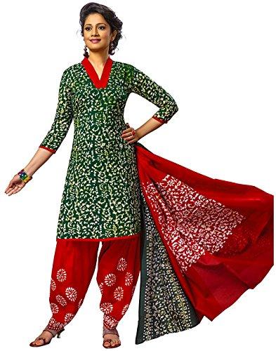 Jevi Prints Green & Red Unstitched Cotton Battik Printed Salwar Kameez With...