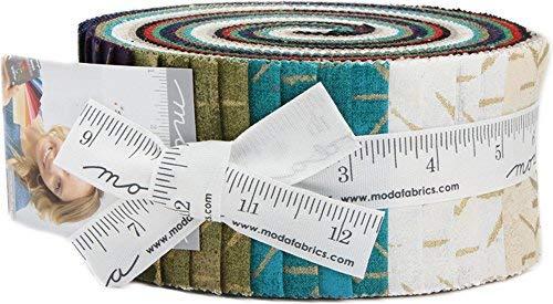 Seeing Stars Grunge Metallic christmas-40, 6,3x 111,8cm Baumwolle Streifen Jelly Roll für Moda Stoffe -