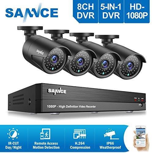 SANNCE-Sistema-de-seguridad-Kit-de-4-CCTV-cmaras-de-vigilancia-8-Canales-DVR-P2P-TVI-1080P-Onvif-H264-4-cmaras-20MP-IP66-Impermeable-36-IR-LED-No-Disco-duro