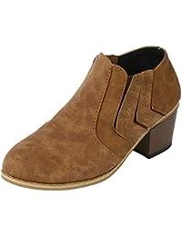 Sonnena Damen Elegant Schnalle Lederstiefel Warm Faux-Stiefel Sexy High  Heels Einzelne Stiefel Martin Stiefel d4e2057b3a