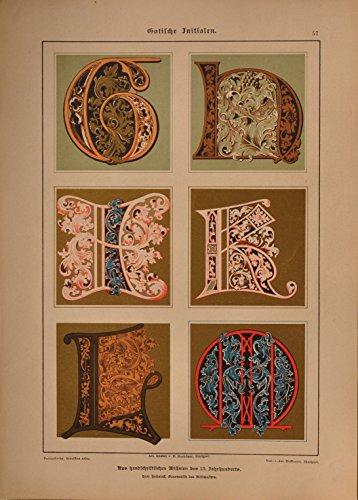 Schriftenatlas: Tafel 57 - Gotische Initialen 13. Jahrhundert, Teil 2 (farbige Lithographie mit...