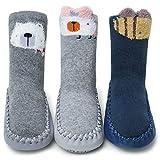 Adorel Baby Hüttenschuhe Gefüttert Socken Rutschfest 3 Paar 3D Tier-Motiven 12-18 Monaten (Herstellergr. S)