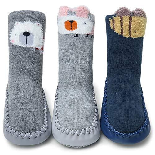 Adorel Baby Hüttenschuhe Gefüttert Socken Rutschfest 3 Paar 3D Tier-Motiven 18-24 Monaten (Herstellergr. M)