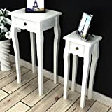 Anself White Side Table Telephone Table with Drawer 2 Sizes