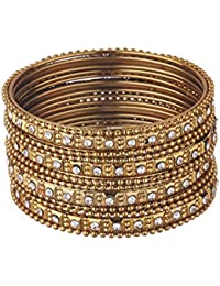 Zeneme Traditional Wedding Gold-Plated Bangles Bracelets Set Jewellery For Women/Girls (Mehandi) (2.8)