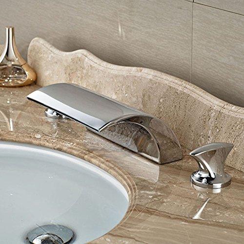Dual Griff Wasserfall Badewanne Mischbatterie Set Deck Mount Badezimmer Badewanne Becken Waschbecken Wasserhahn Chrom-Finish von Mag.AL,D