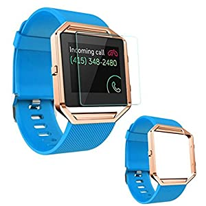 Armbanduhr Band 23mm, happytop Silikon Armband Armband Handgelenk Armbanduhr Ersatz mit Metall Rahmen für Fitbit Blaze