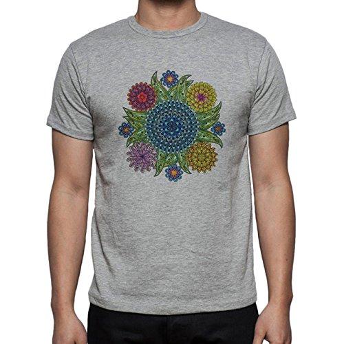 Mandala Flowers Plants Blue Green Grass Herren T-Shirt Grau