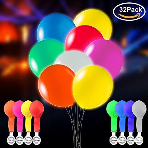 TECHSHARE LED Leuchten Luftballons Blinklicht 32 Stück - Mischfarbe für Urlaub Geburtstag Hochzeit (SIZE2)