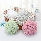 1Pcs Large Size Solid Bath Balls Rich Bubbles Body Flower Bath Sponge Shower Brush Body Wash Scrubber Mesh Soft Puff(Color:Gray Blue)